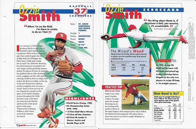 1995 ozzie smith baseball 13b