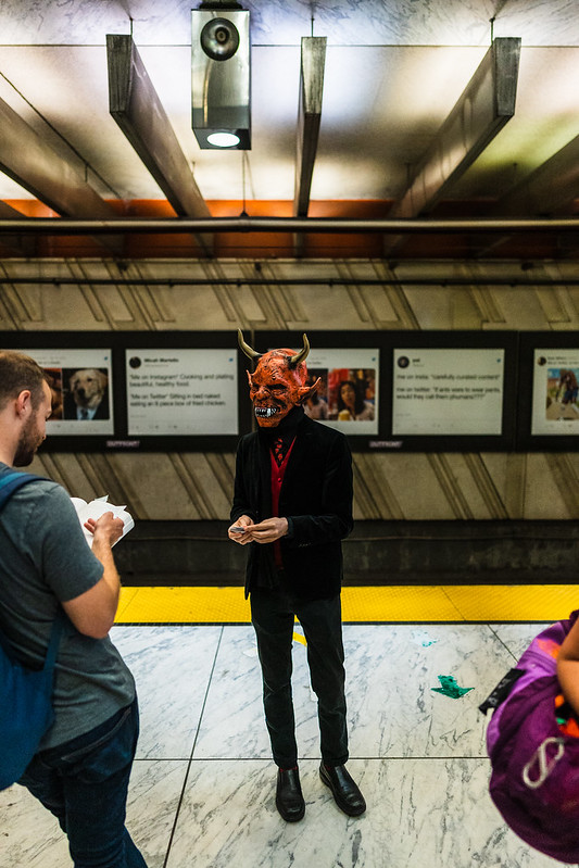 Satan doesn't let friends take the subway.