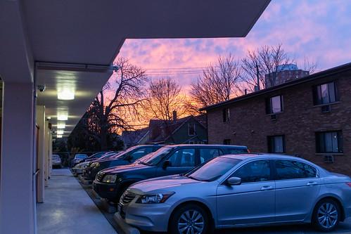 Parking lot at sunset