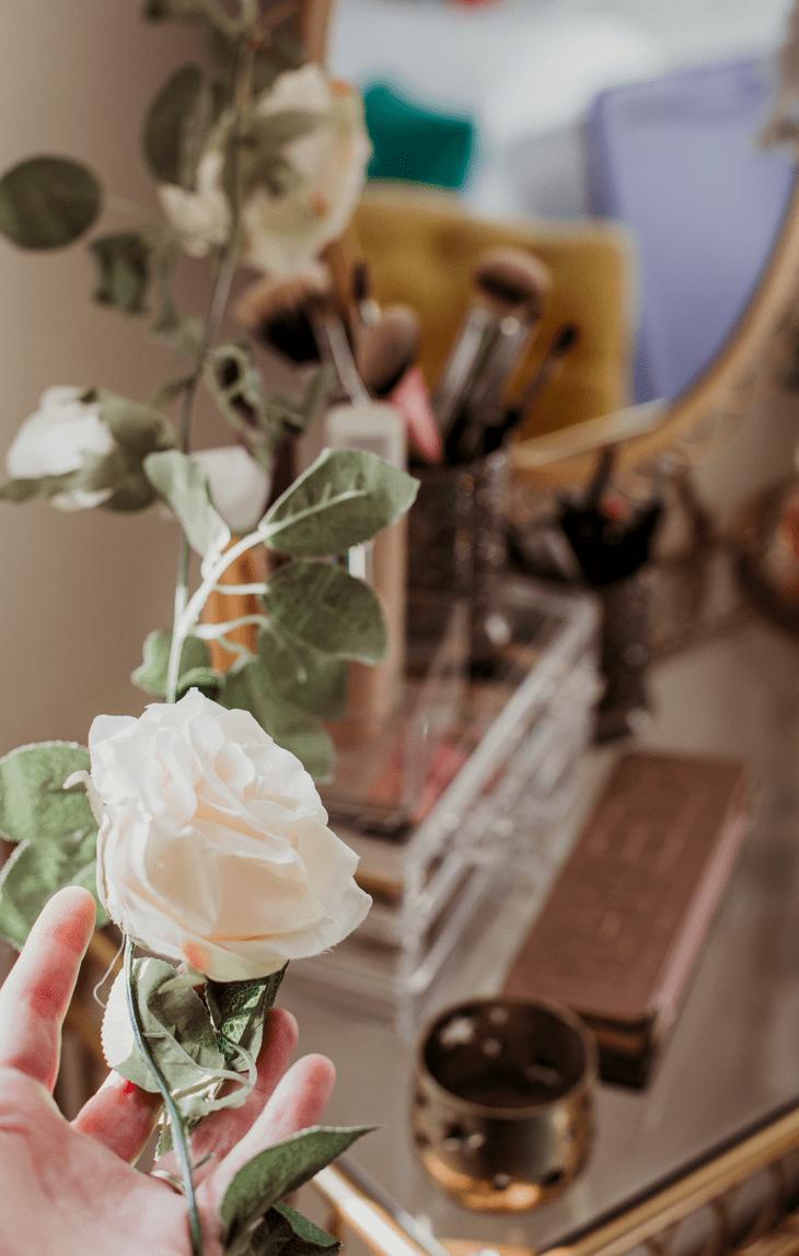 faux flowers vanity