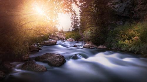 florissant colorado unitedstates river stream longexposure mountain sunset outdoor nature landscape water