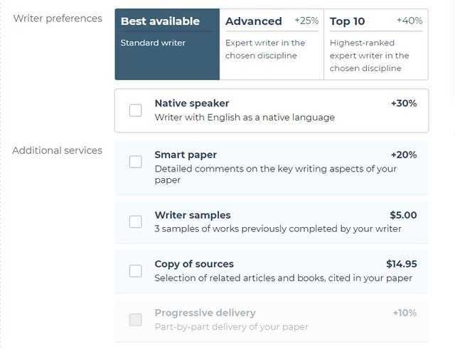 Writer preferences' and additional services' prices