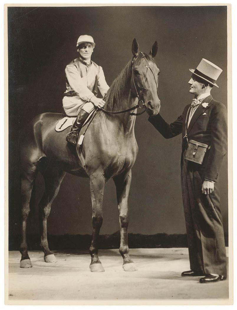 Filming on set of the film 'Thoroughbred', 1935-1936, Sam Hood