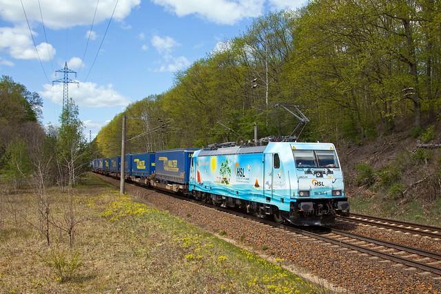 HSL 186 364 + DGS 41327 Rostock Überseehafen - Bad Schandau  - Potsdam Wildpark