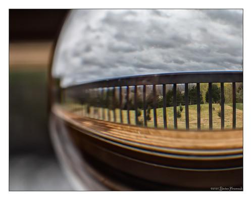 hmm macromondays window sill theme front yard deck ceders glass ball windowsill