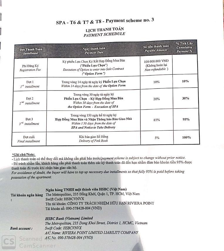 Lịch thanh toán chuẩn tháp 6, tháp 7 và tháp 8 căn hộ The View - Riviera Point quận 7 - Keppel Land.