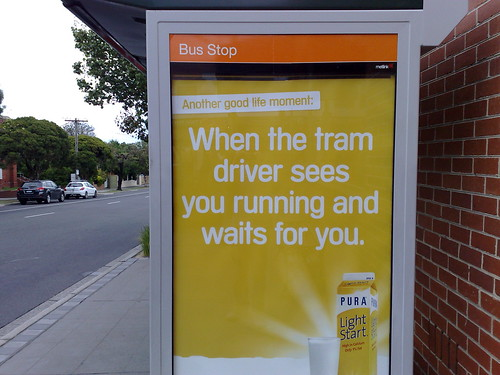 Misplaced tram stop ad on a bus stop