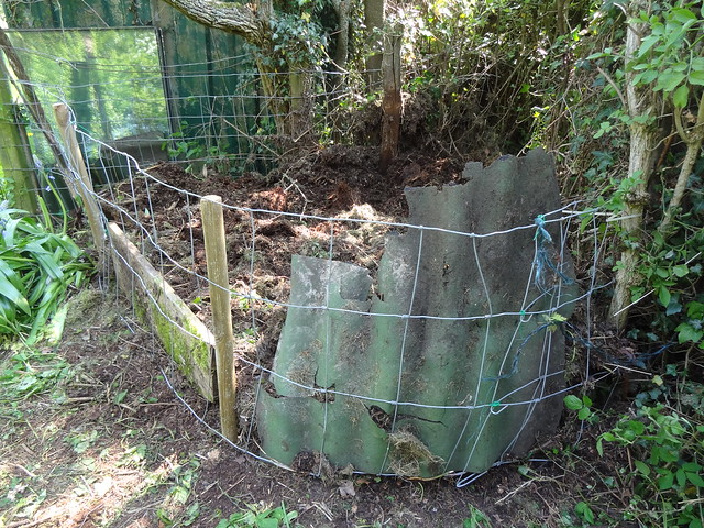 Orchard compost heap corraled