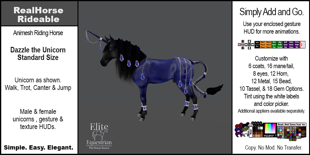 Elite Equestrian Animesh RealHorse Rideable Dazzle the Unicorn Standard