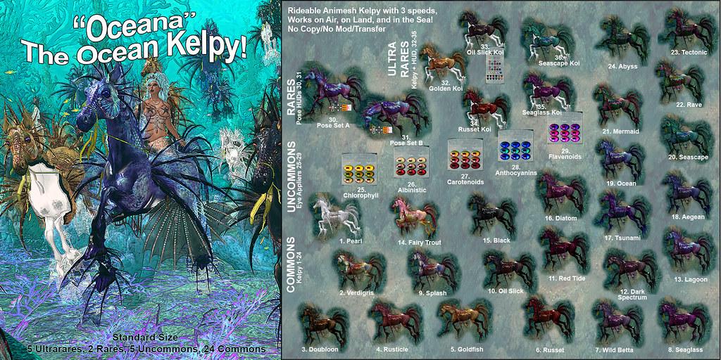 Elite Equestrian Animesh RealHorse Rideable  Oceana the Ocean Kelpy Gacha