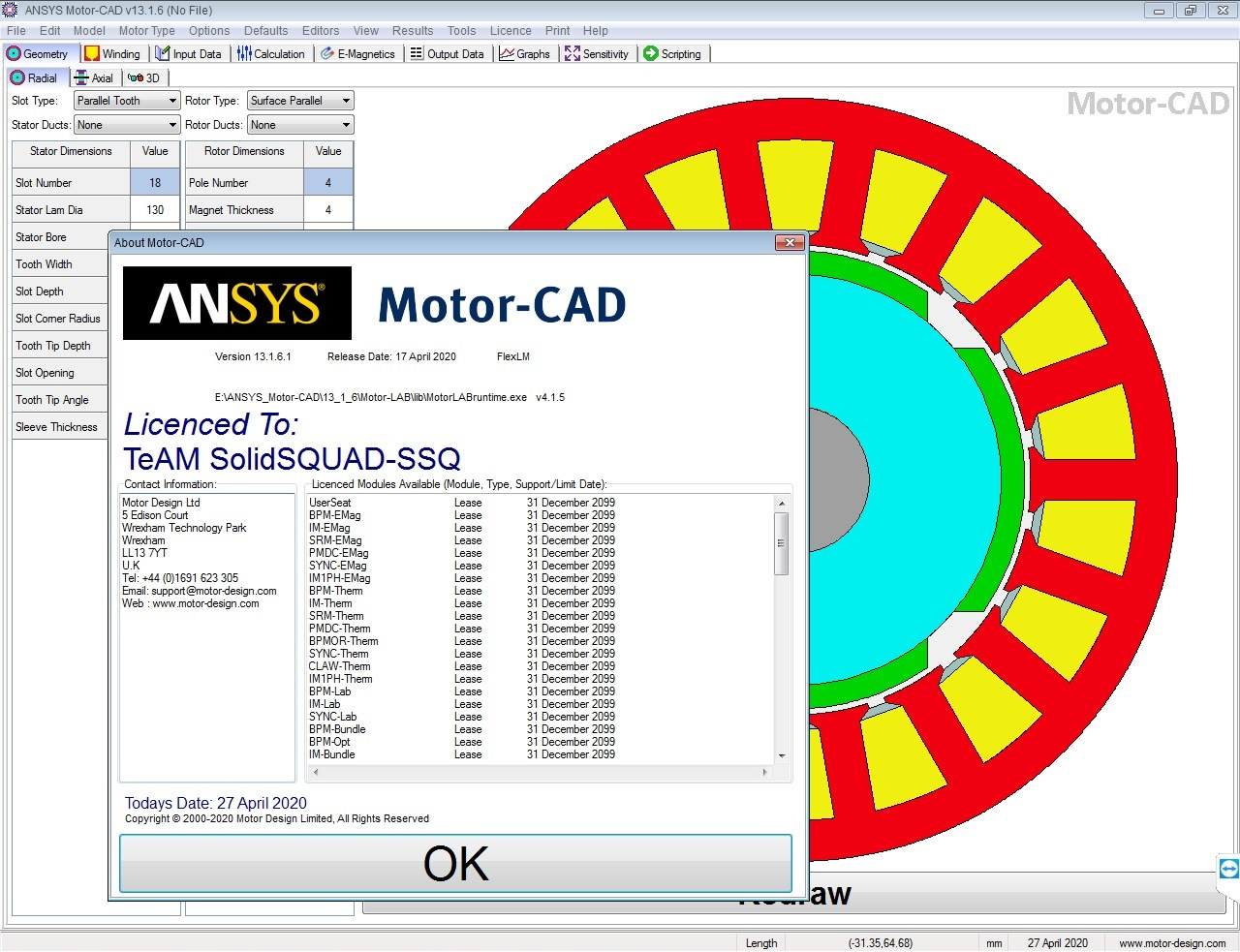 Working with ANSYS Motor-CAD v13.1.6 full license