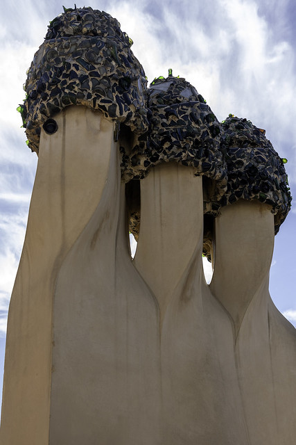 Chimneys on the Rooftop Terrace La Pedrera or Casa Mila Residential Building by Gaudi Barcelona Spain