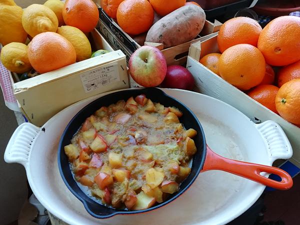 crumble pommes tatin et rhubarbe