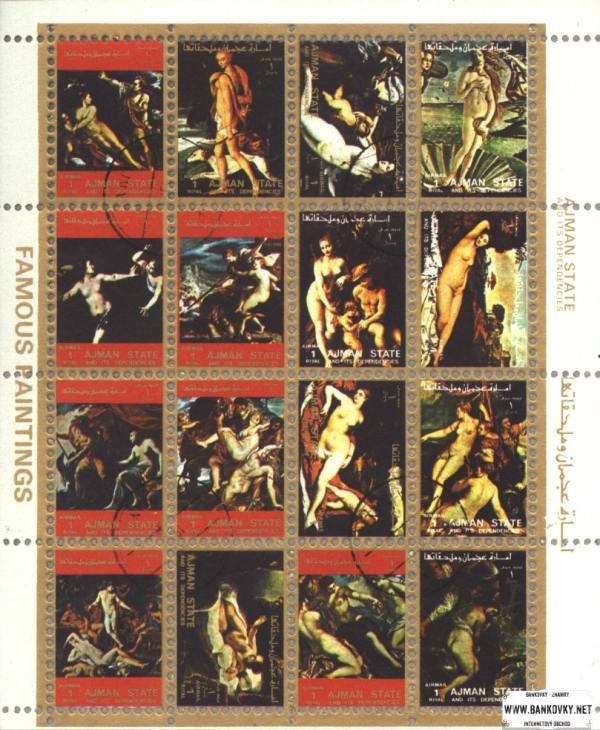 Známky Ajman 1972 Umenie akty, razítkovaná séria