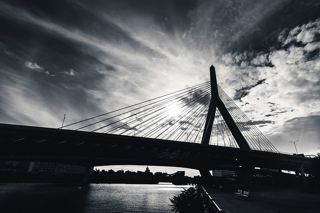 Zakim Bridge with Sun Rays