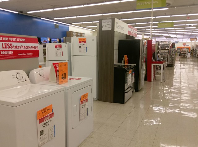Appliances and electronics along the back actionway