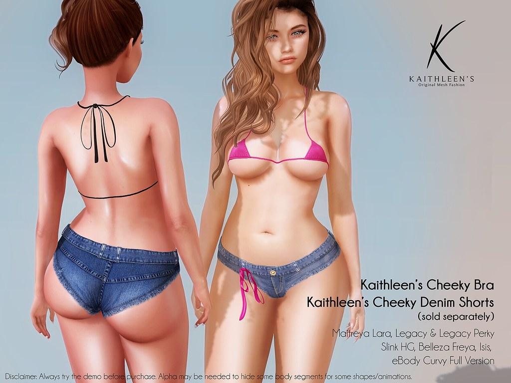 Kaithleen's Cheeky Denim Shorts and Bra Poster web