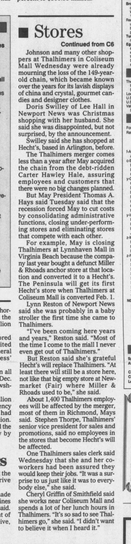 Thalhimers Becomes Hechts, Coliseum Mall, 11/14/1991