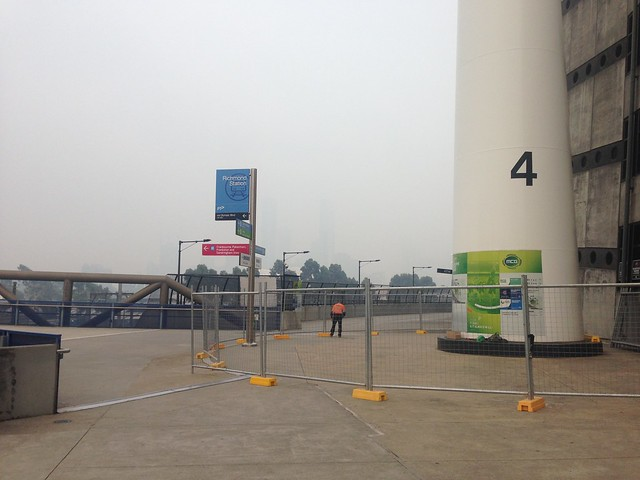 Melbourne CBD skyline invisible from MCG due to smog and bushfire smoke in January 2020