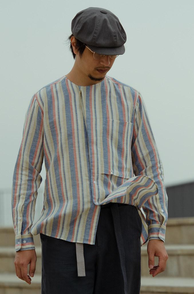 棉蠶絲無領襯衫