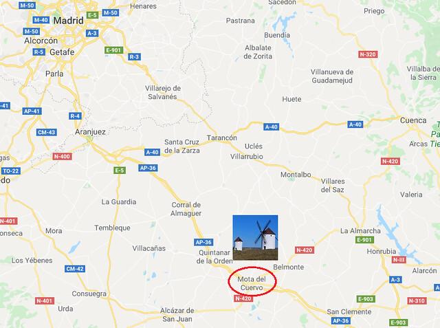 Mapa de situación de Mota del Cuervo (Cuenca, Castilla-La Mancha)