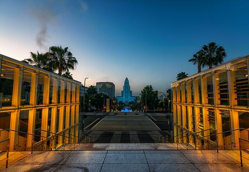 los angeles county dtla city hall nikon d810 clouds wide angle lens 1628mm atx pro sunrise color morning la lockdown tokina california socal cityscape