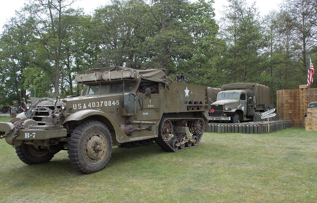 SECOND WORLD WAR AMERICAN HALF TRACK ARMY MILITARY VEHICLE AT THE ROYAL GUNPOWDER MILLS A HISTORIC VENUE IN AN EAST LONDON BOROUGH STREET PARK EVENT VENUE ENGLAND DSCN0491