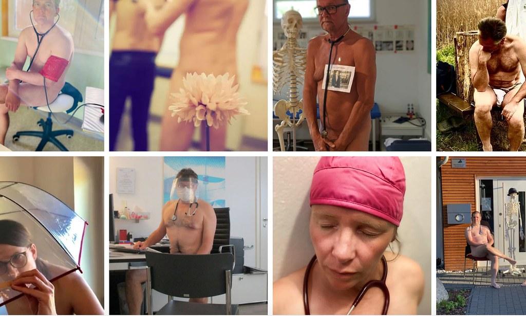 德國醫師裸體抗議個人防護設備稀缺。(圖片來源:Blanke Bedenken)