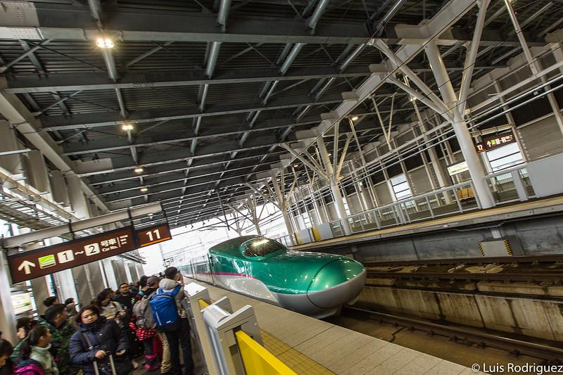 Shinkansen de la serie E5 en dirección a Tokio en la estación de Shin-Hakodate-Hokuto