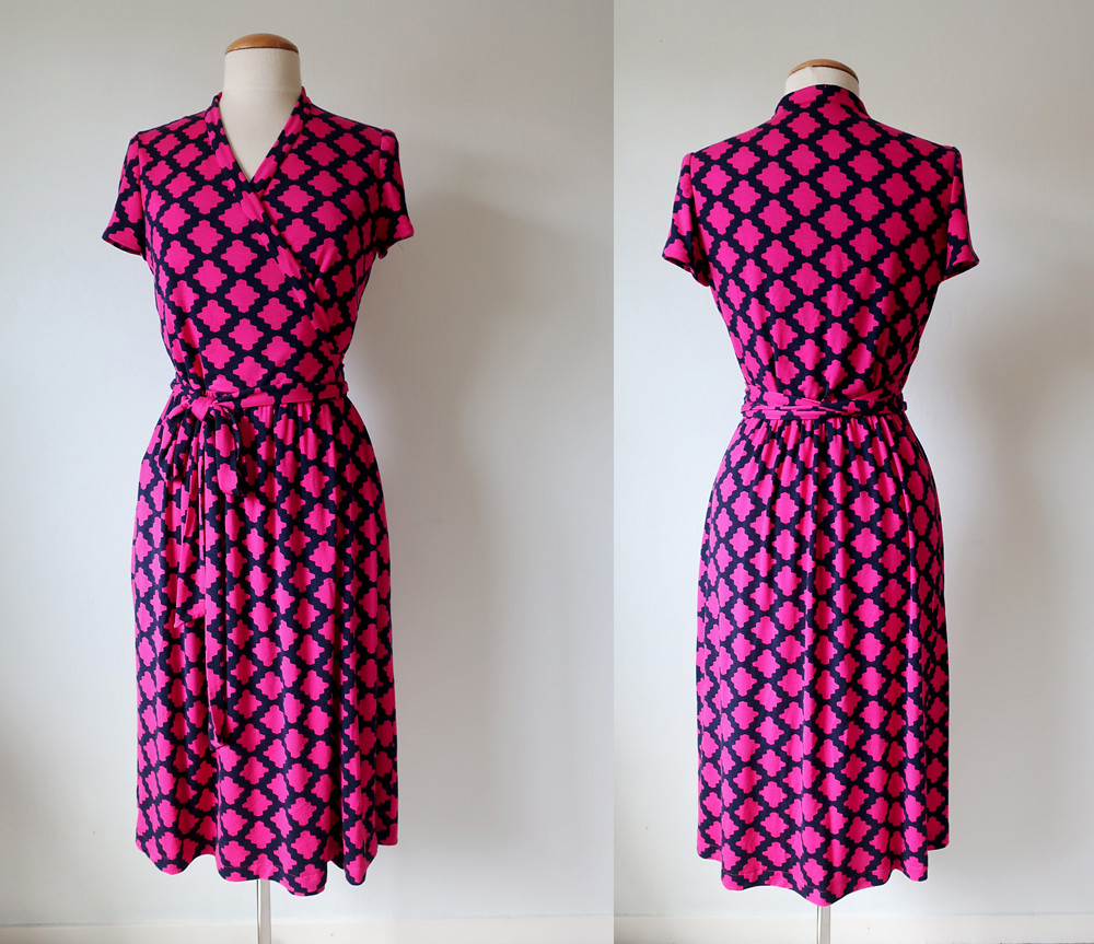 Pink wrap dress front and back composite