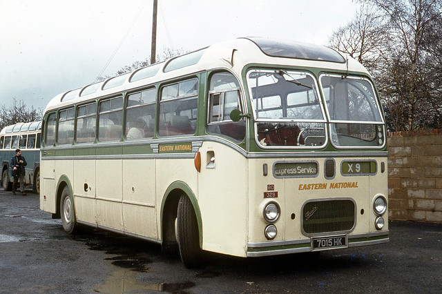 Eastern National Omnibus Company . 329 7015HK . Haverhill , Premier Travel garage , Suffolk . Sunday lunchtime 26th-April-1970 .