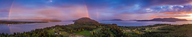 Sunset Rainbow Over Lummi Island, Washington