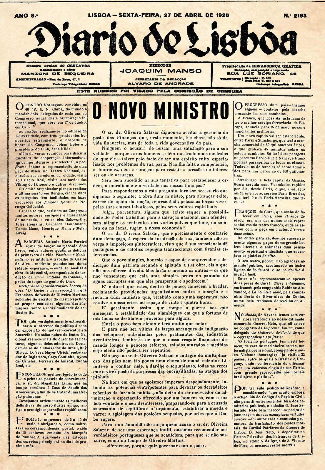«O novo ministro», Diario de Lisbôa, 27 de Abril de 1928