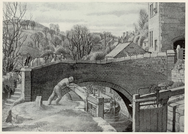 Stroud Canal - drawing by S R Badmin, c1933
