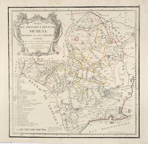 MAPA DEL REINO DE MURCIA DE TOMÁS LÓPEZ EN 1768