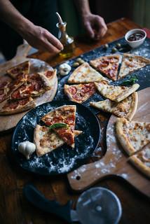 Mixed pizza at a restaurant.