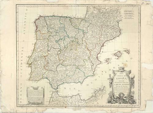 MAPA GENERAL DE ESPAÑA DE TOMÁS LÓPEZ, 1770