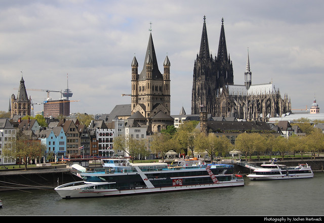 View across the Rhine from Deutzer Brücke, Cologne, Germany