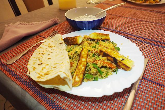 Halloumi, couscous, and tzatziki