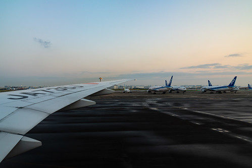 Lined up aircraft