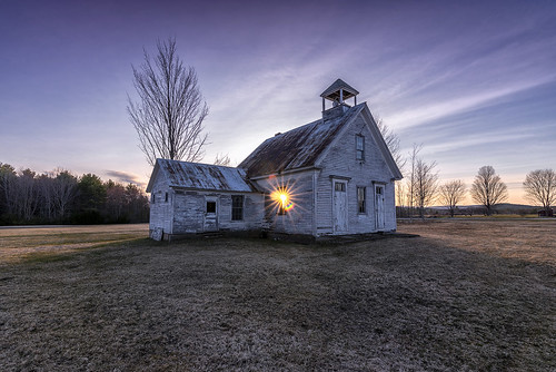 harrison maine abandoned building architecture sunset night clouds cloudporn landscape field eerie newengland beautiful luminous sky rural agrarian schoolhouse