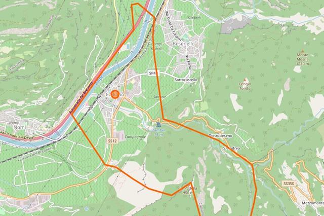 Mappa confini comunali Calliano (Comune Catastale Calliano)