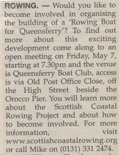 Advert 23.4.10 | by Queensferry Rowing Club