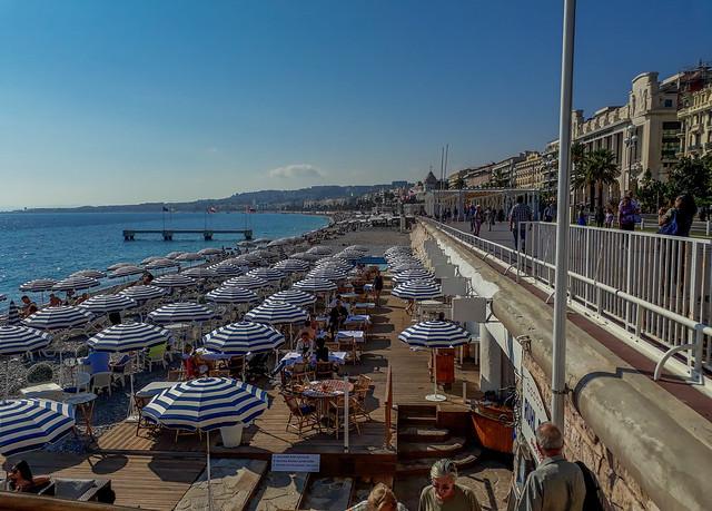 The restaurant's umbrellas along the Promenade des Anglais in Nice, France.