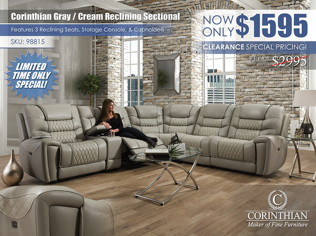 Corinthian Light Gray Cream Reclining Sectional_98815