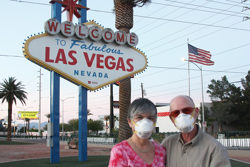 Wearing masks at the Las Vegas Welcome Sign