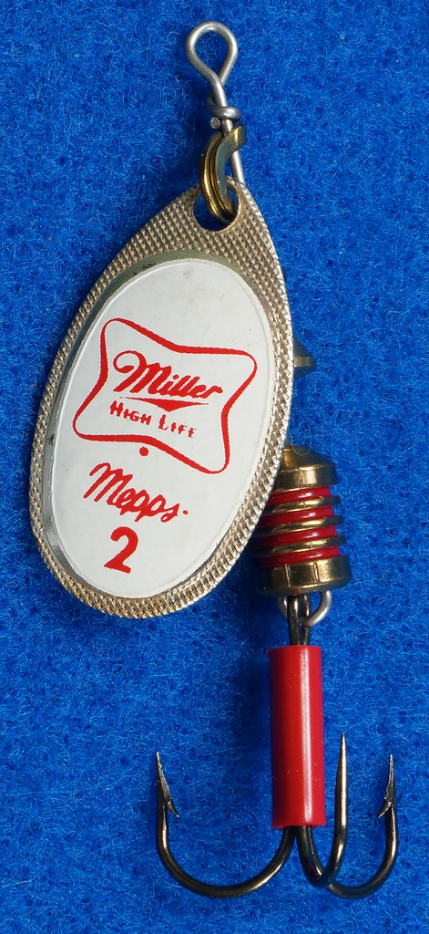 RD29483 RARE - Mepps MILLER HIGH LIFE Beer FRENCH SPINNER Logo FISHING LURE DSC03239