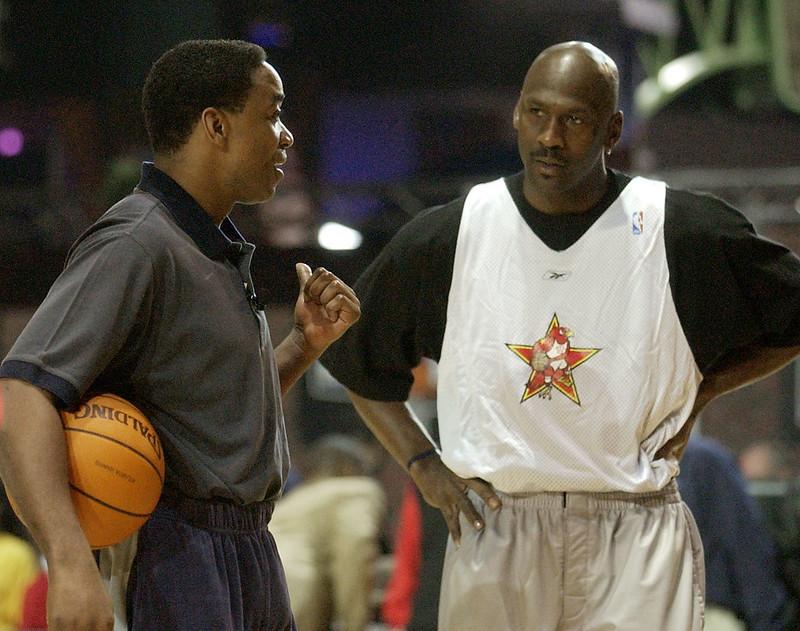 Michael Jordan(右)與Isiah Thomas(左)。(達志影像資料照)