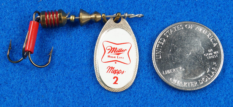 RD29483 RARE - Mepps MILLER HIGH LIFE Beer FRENCH SPINNER Logo FISHING LURE DSC03241