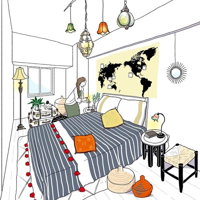 旅の思い出を集めたベッドルーム (阪急阪神不動産 ジオ阪急水無瀬ハートスクエア 「理想の一邸」)